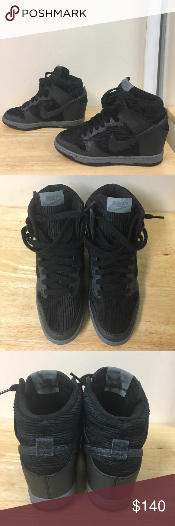 ea7b7a4c6 If anymore pictures are needed or questions...drop a direct message! 2015 Nike  Dunk Sky Hi Black Grey Metallic Wedge Women Size 7.5 Shoes 528899-015 ...