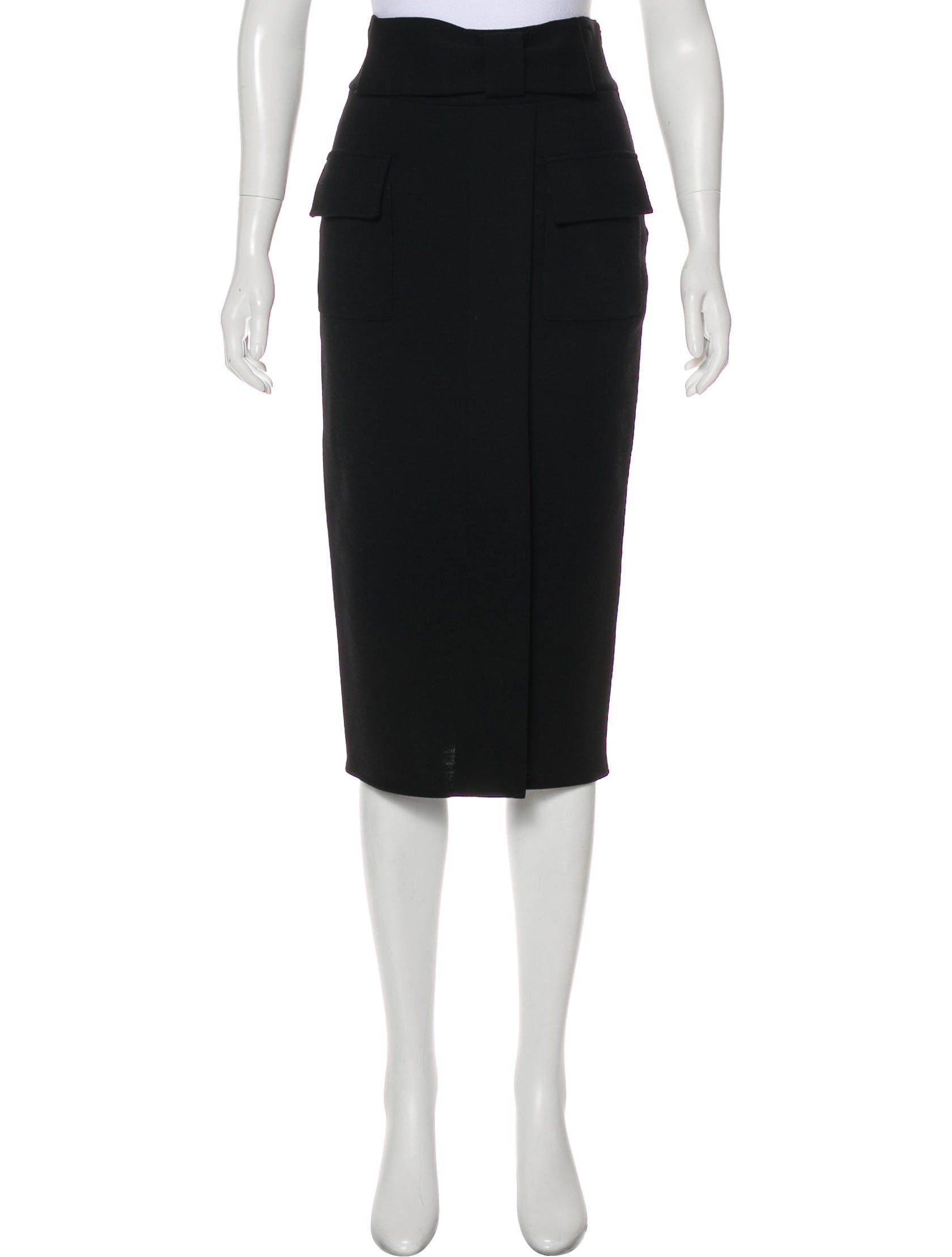 35ea16eae Black Diane von Furstenberg Marple wool midi skirt with dual flap pockets  at front and concealed zip closure and hook-and-eye closure at ...