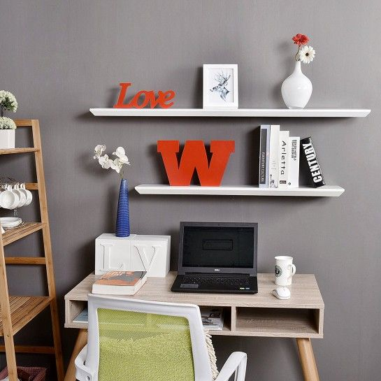 24 Inch Oliver Wall Floating Shelf White White Color For Us 34 99 In Decorative Shelving Wooden Wall Shelves Shelves Decorative Shelving