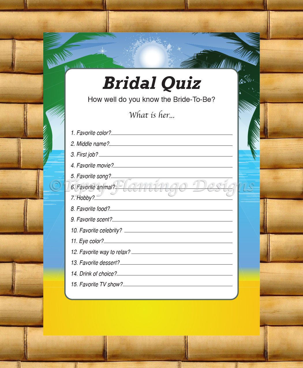 Beach Theme Wedding, Bridal Shower Game, How Well Do You