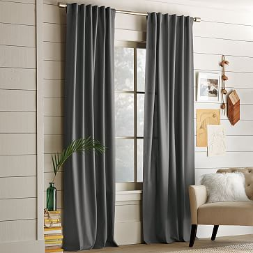 Cotton Canvas Curtain - Steel #westelm Alisha\u0027s office Pinterest