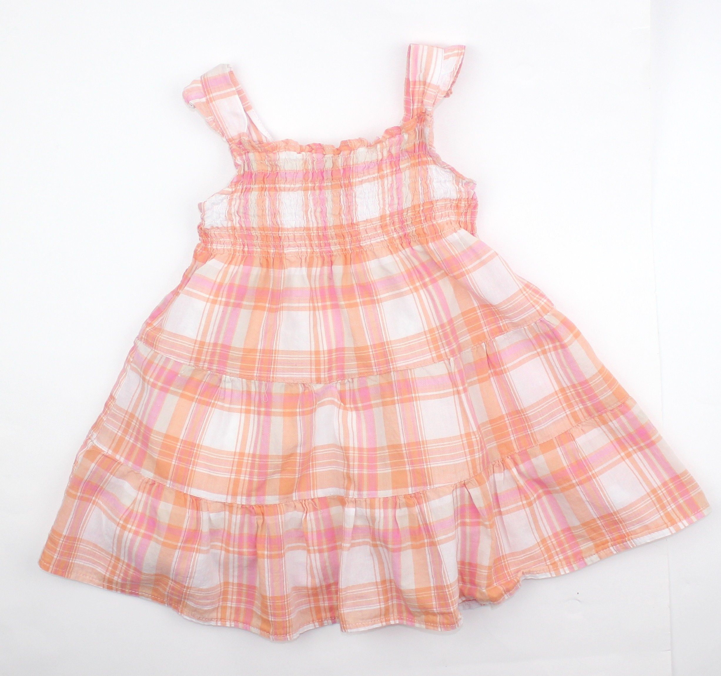 Baby Girl Summer Dress Fully Lined in Peaches Pinks with Ruffled