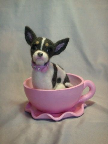 Needle Felted Chihuahua With Polymer Clay Teacup By Laurie Valko