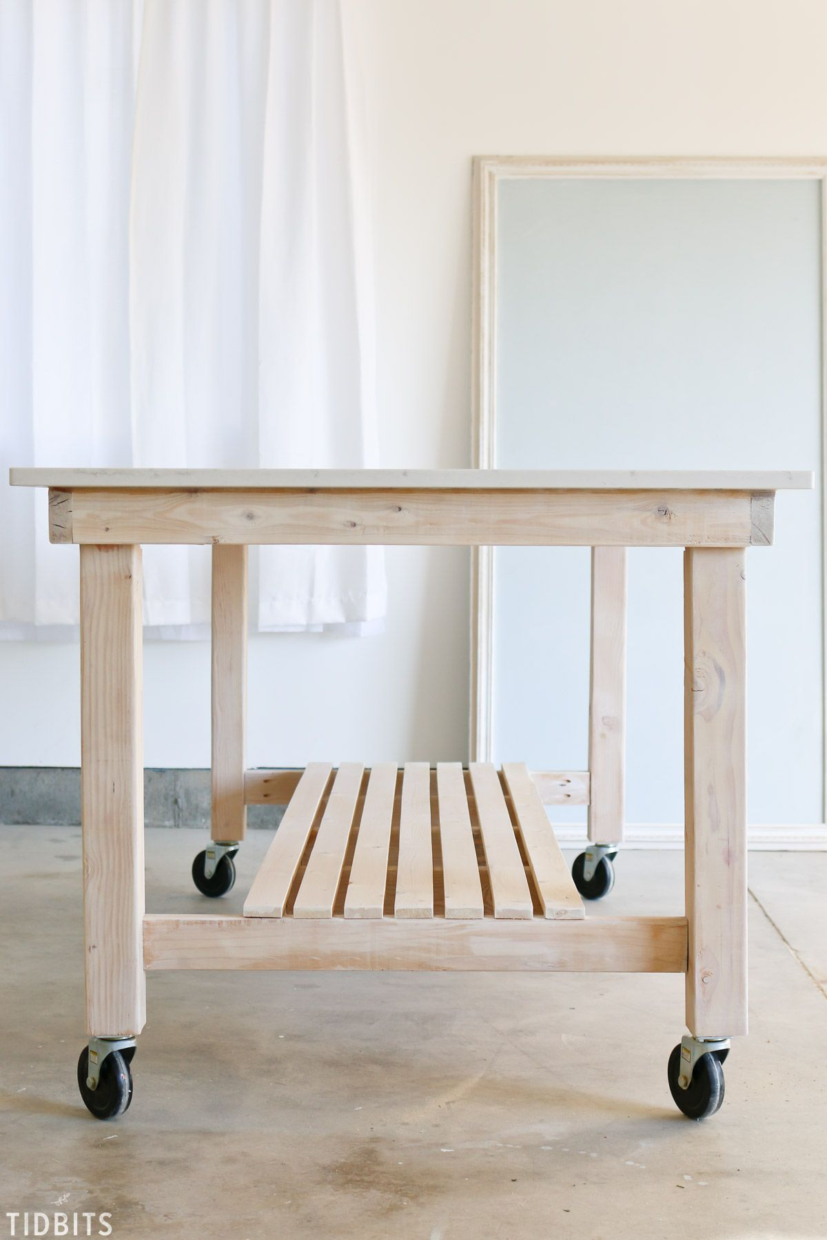 DIY Rolling Work Table / Kitchen Island Kitchen work