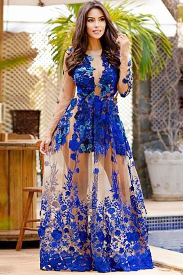 Royal Blue Long Sleeves Appliques Jewel Floor-length Prom Dress with ...