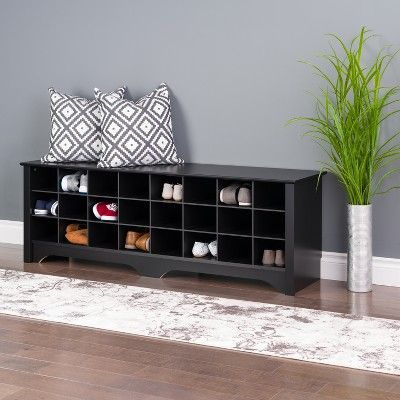 The 60 Inch Shoe Cubby Bench From Prepac Offers A Convenient And