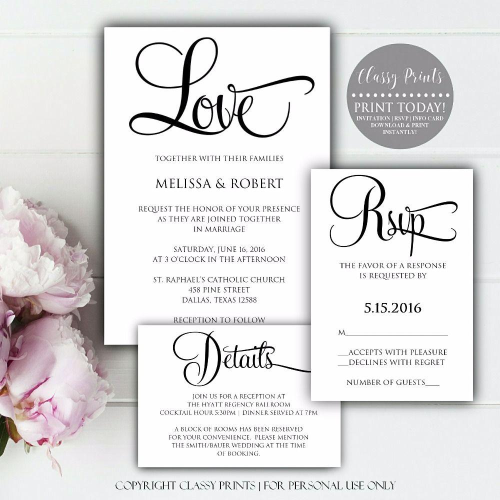 DIY Wedding Invitations, Printable Wedding Invitations, Wedding ...