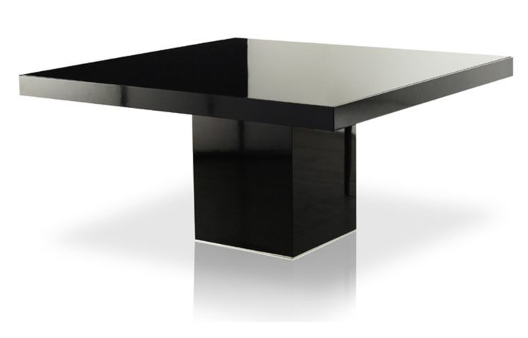 Modern Minimalist Small Square Glossy Black Pedestal Dining Table