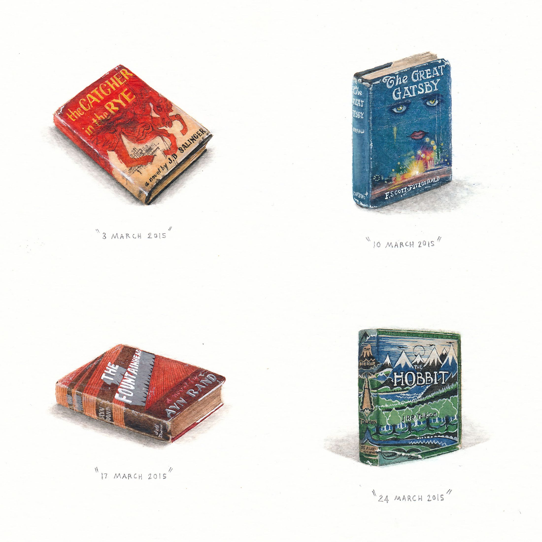 Watercolor book covers - A New 100 Day Miniature Painting Project By Lorraine Loots Tackles Vintage Book Covers