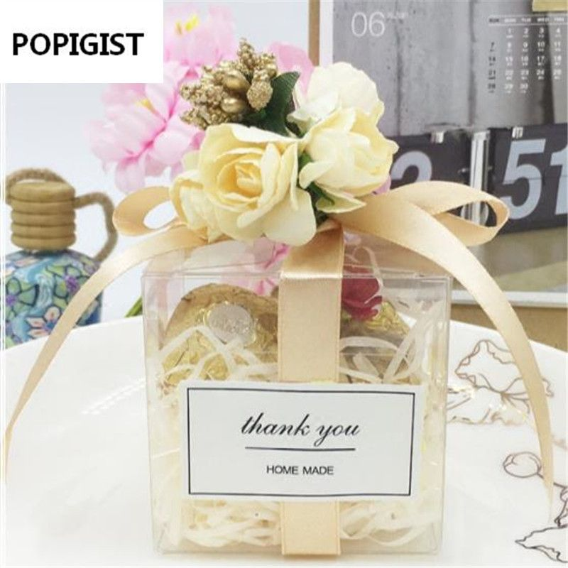 Clear Square Wedding Favor Gift Box Pvc Transparent Party Candy Bags Chocolate Boxes 5x5x5cm Caja D Wedding Favor Gift Boxes Wedding Gift Favors Wedding Favors