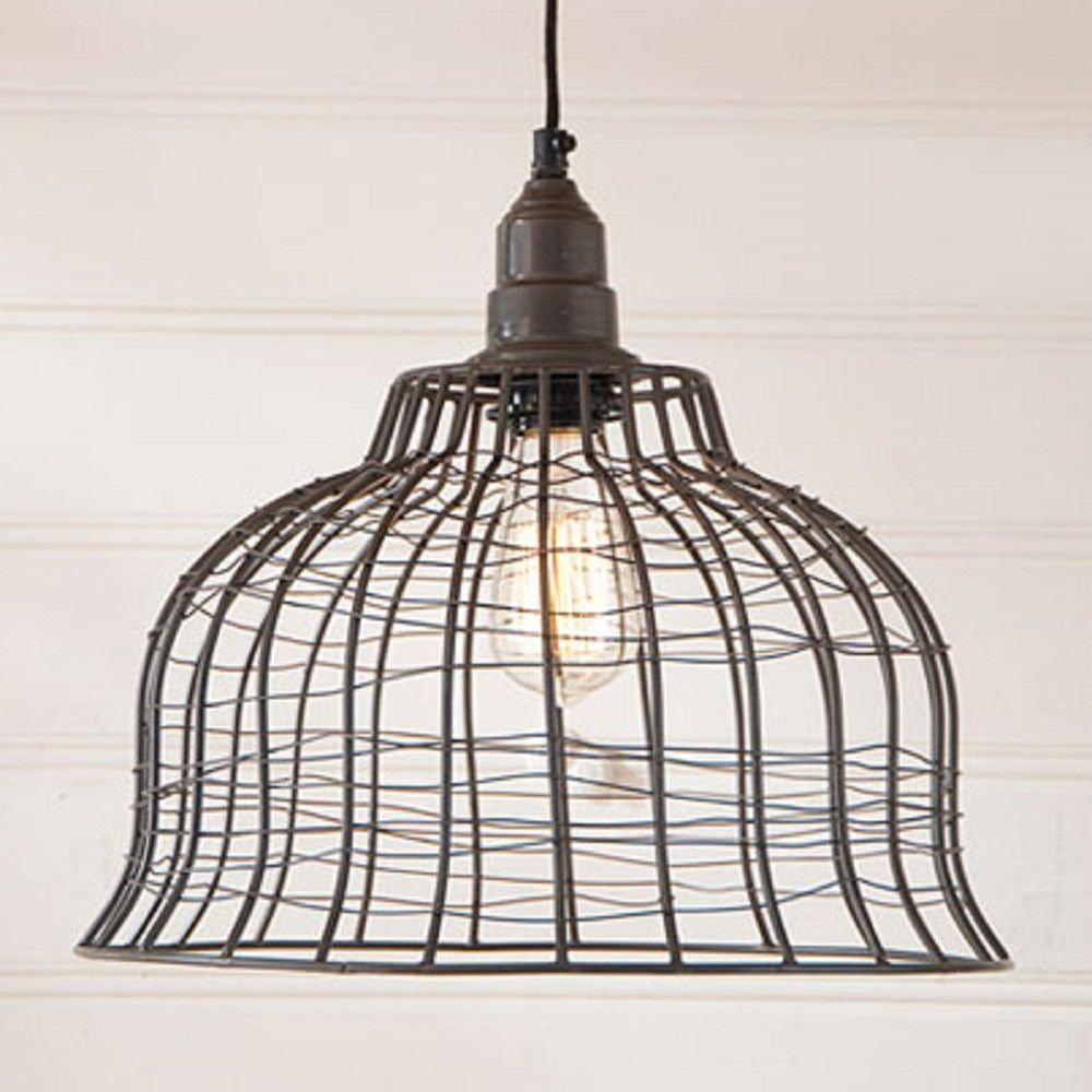 Industrial wire cage pendant lamp in smokey black finish pendant