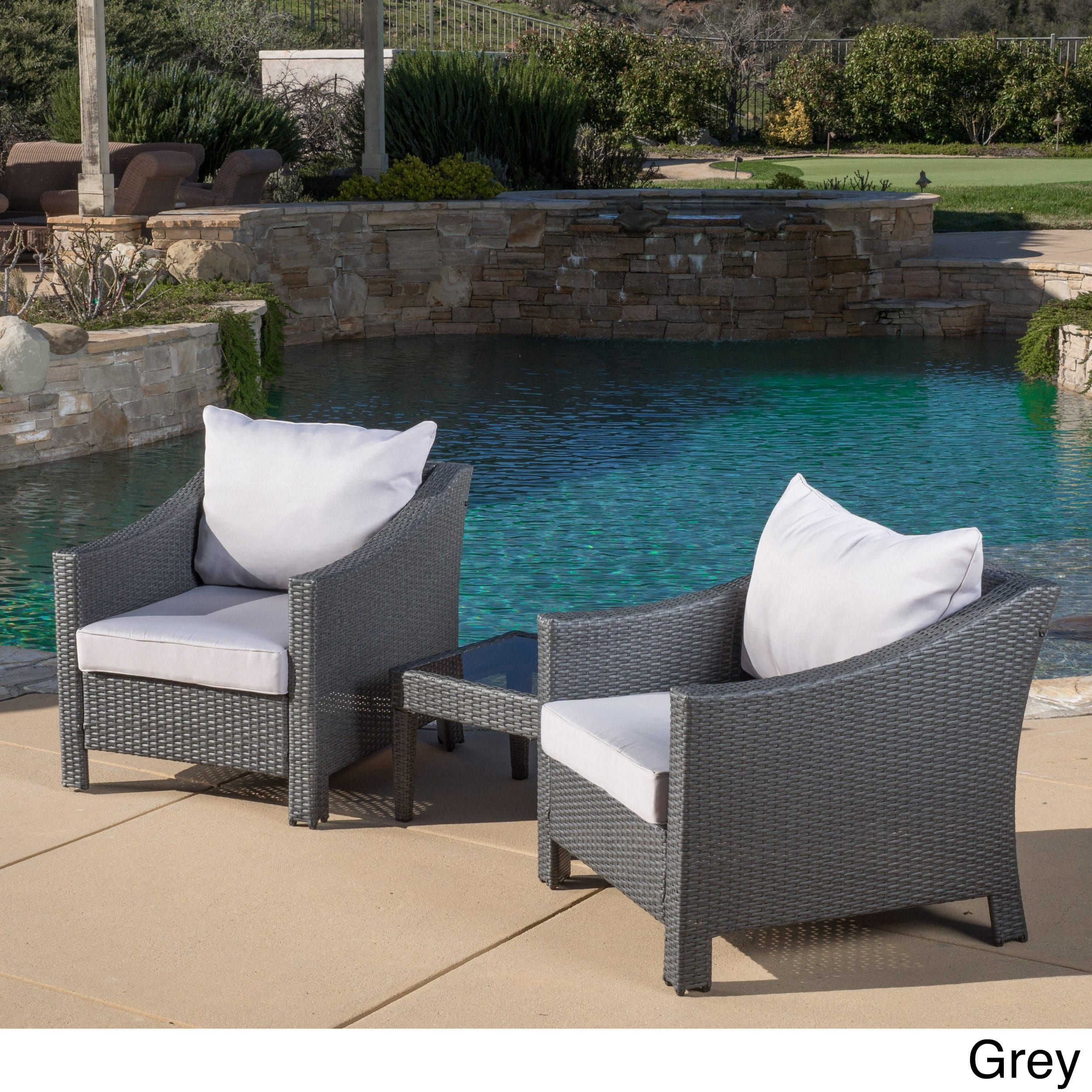 Christopher Knight Home Outdoor Antibes 3 Piece Wicker Conversation Set  With Cushions (Grey)