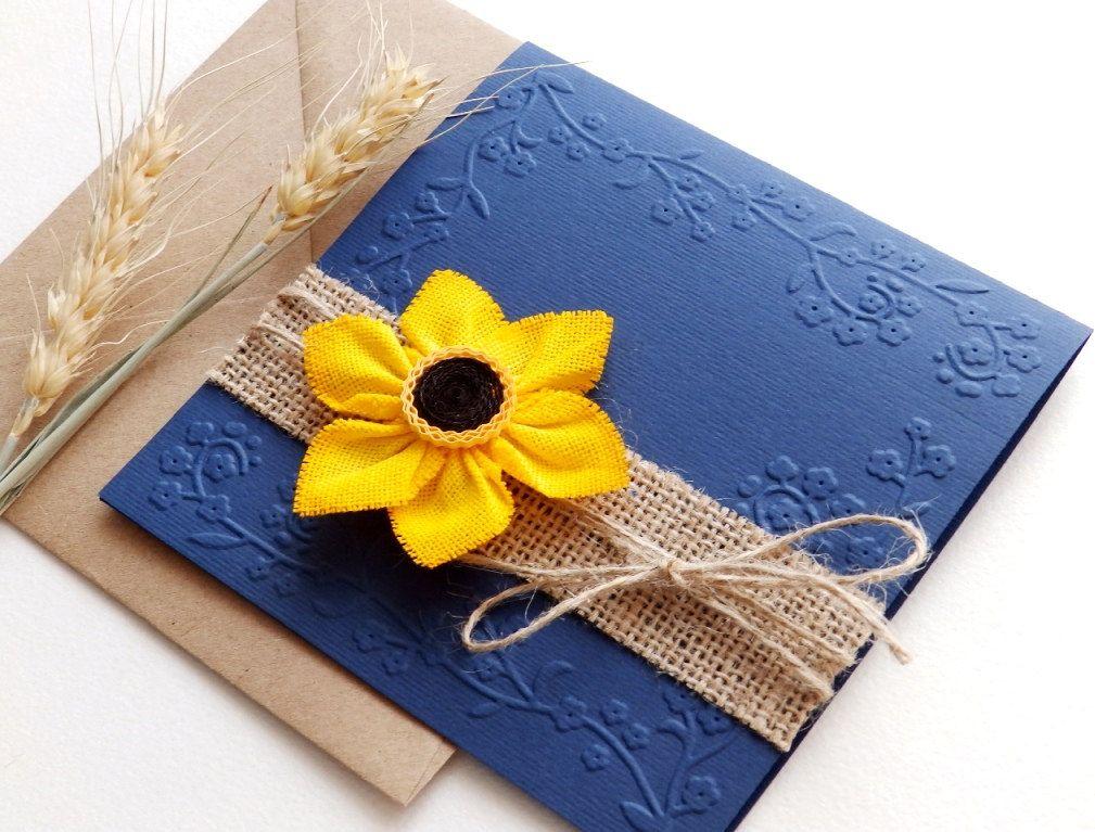 Handmade Rustic Wedding Invitations: Handmade Sunflower Wedding Invitation/Blue Navy Wedding