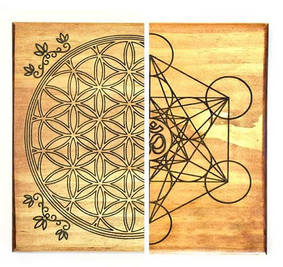 Metatron S Cube Flower Of Life Crystal Grid Double Side Sacred Geometry Layout