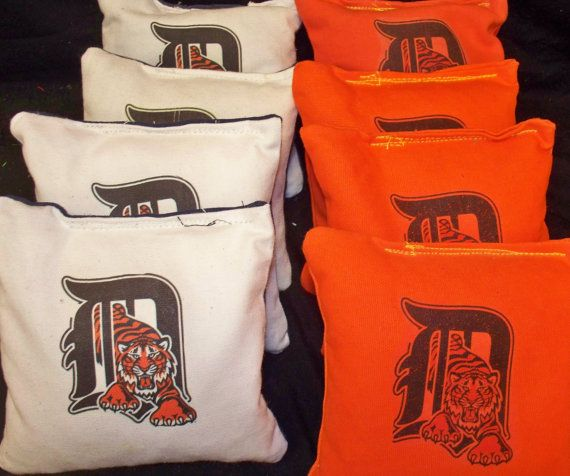 Detroit Tigers set of 8 cornhole bags by Chrisandcarabear on Etsy, $22.99