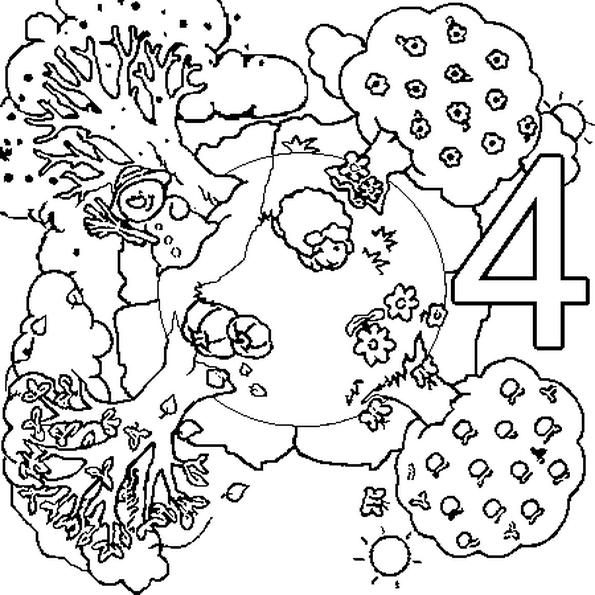 Pour Illustrer Le Chiffre 4 Le Dessin Represente Les 4 Saisons D Une Annee Au Printemps L Arbre Est Vert Tendre Les Fleurs Son Coloring Pages Nerd Character