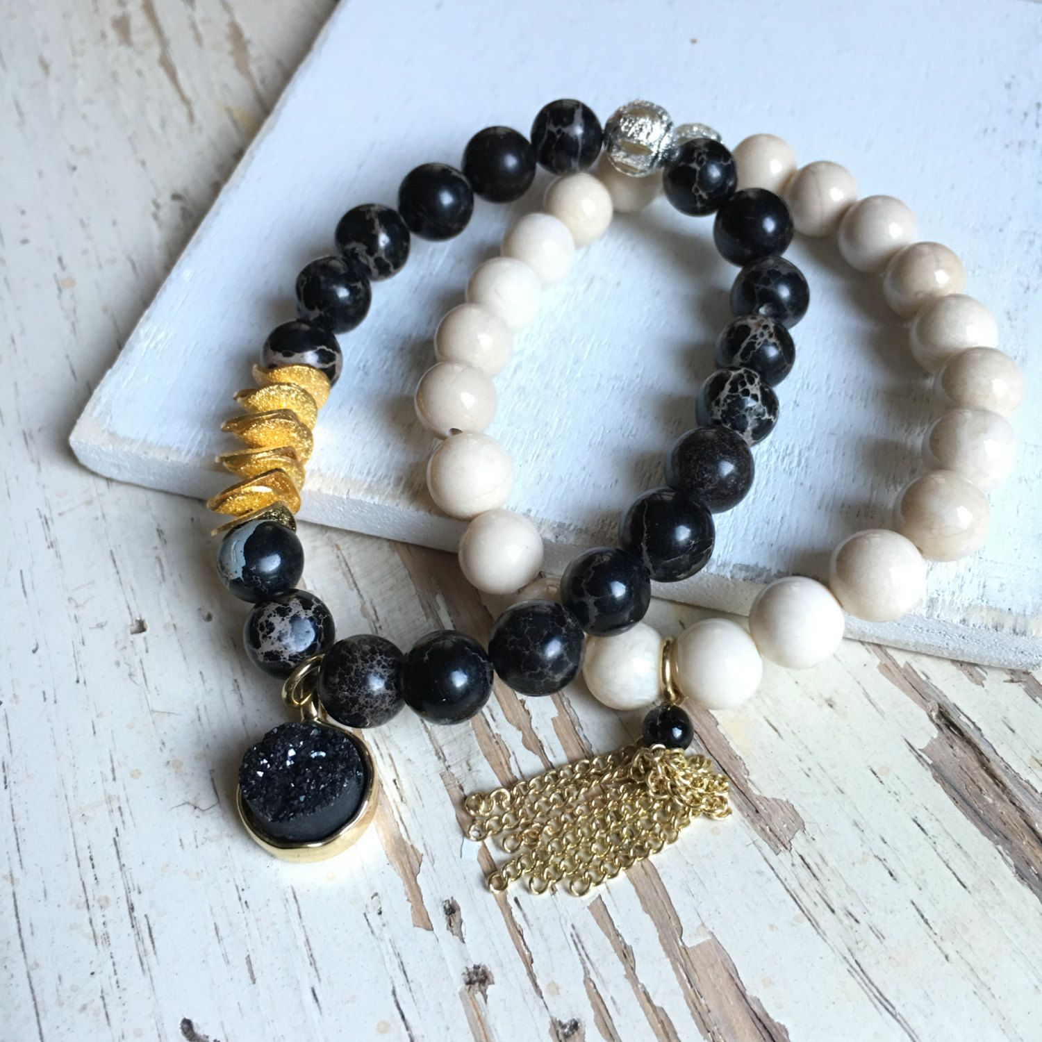 [[ Ying And Yang Set ]]   Keep them both for yourself, or split it with your bestie!  -8mm Round Gemstones -Gold Plated Chains -Black Druzy -Gold Plated Stardust Discs -Stretch Bracelets