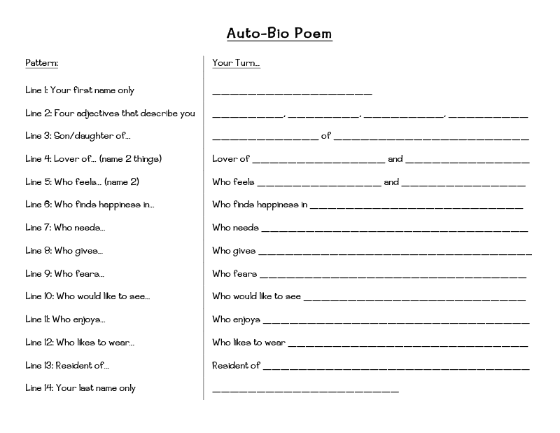Bio Poem Do This The First Day Of School 5th Grade