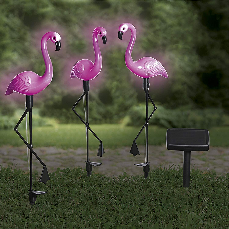 Diese Solar Flamingos Sind Ein Echter Blickfang Im Garten 3er Set Mit Solar Panel Fur Balkon Terasse Und Garten D Solarleuchten Solar Beleuchtung Garten