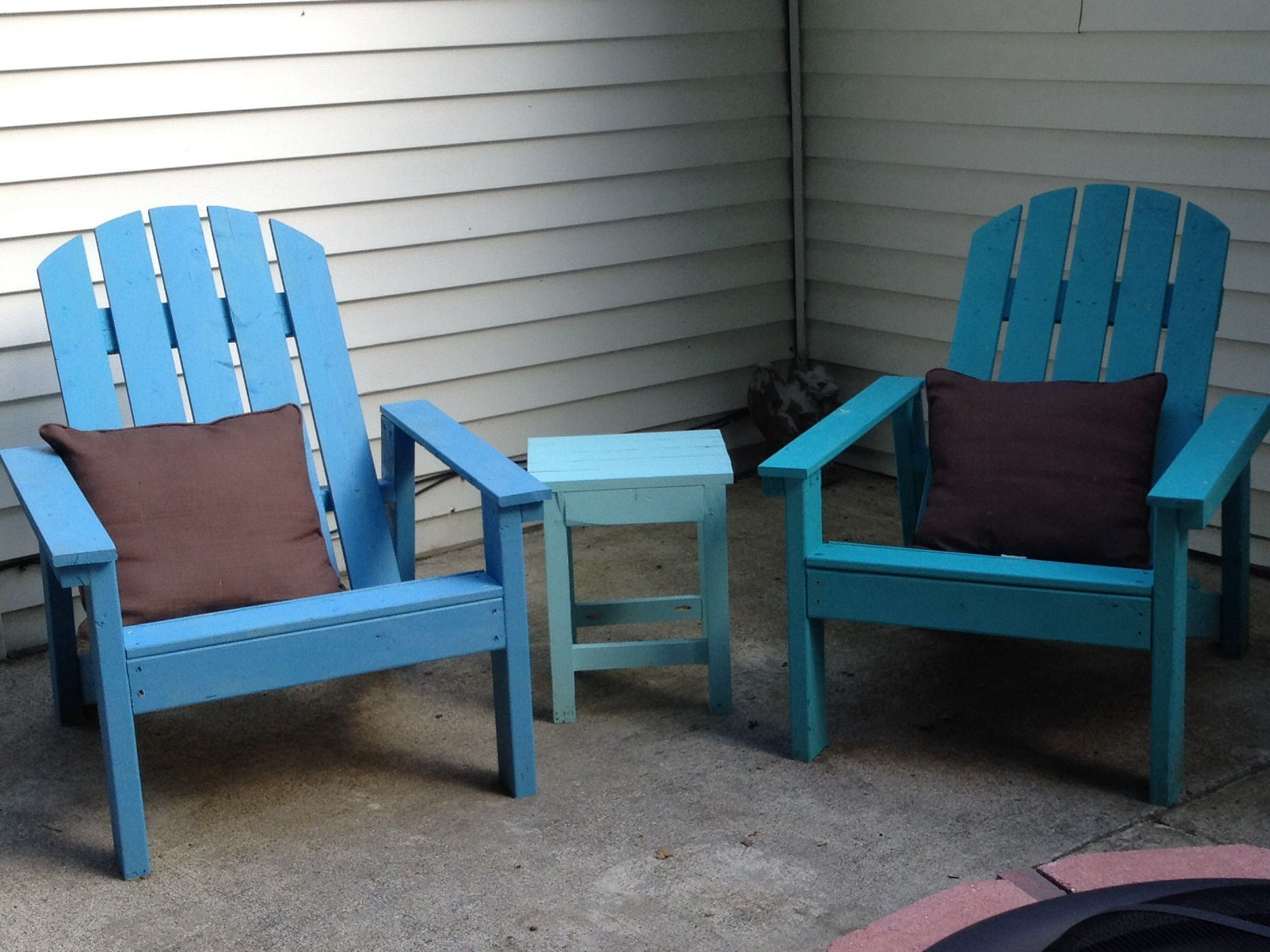 Adirondack chairs and table, I made from Ana White's chair