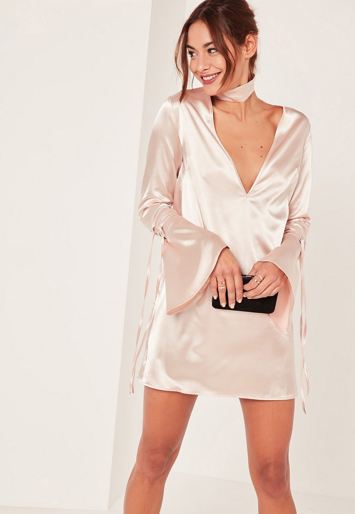 Missguided nude piece choker neck plunge satin shift dress