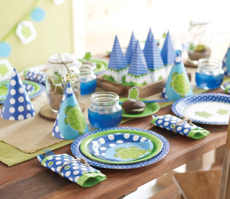 Mr Turtle 1st birthday party table set up So cute Child