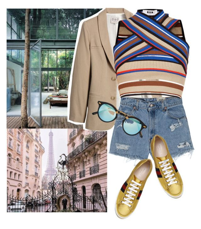 """""""Untitled #1984"""" by ivonce ❤ liked on Polyvore featuring Sea, New York, Levi's, Krewe, MSGM and Gucci"""