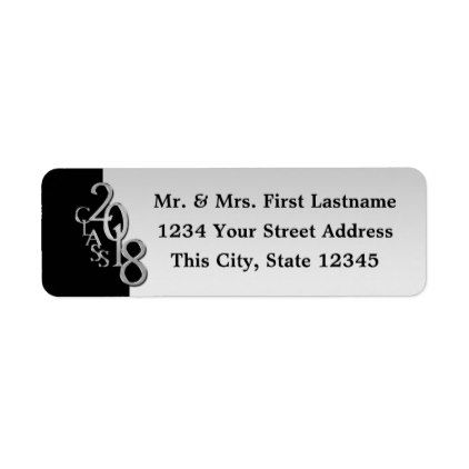 Class of 2018 Silver and Black Graduation Label Return address