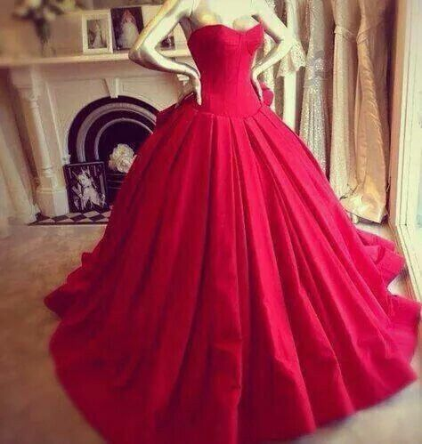 Red princess wedding gown