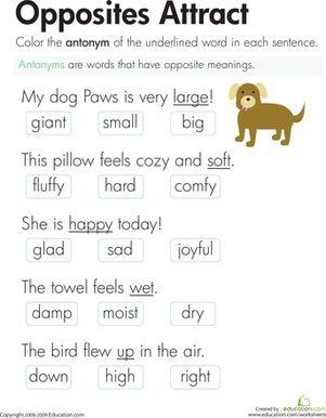 Opposite Words Worksheets For Grade 2 - Scalien | Teaching ideas ...