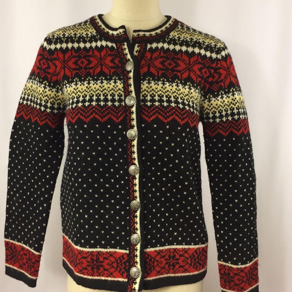 Skye Woman Nordic Cardigan Sweater 100% Wool Size Small Blue Red ...