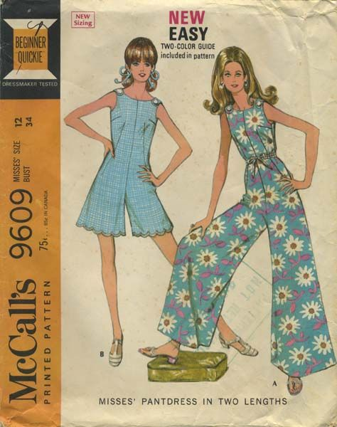 Vintage Jumpsuit Sewing Pattern Mccall S 9609 Year 1969 Bust