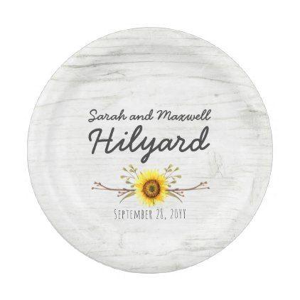 Sunflower & Rustic Wood Farm Country Wedding Paper Plate - wedding ...