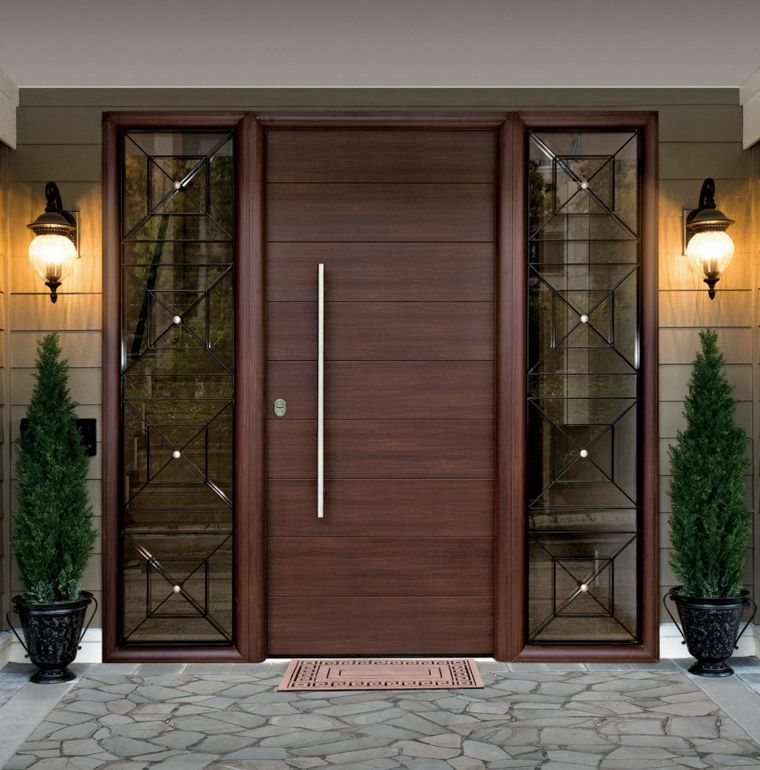 Puertas de madera para el interior y para la entrada de for Puertas interiores de madera con vidrio