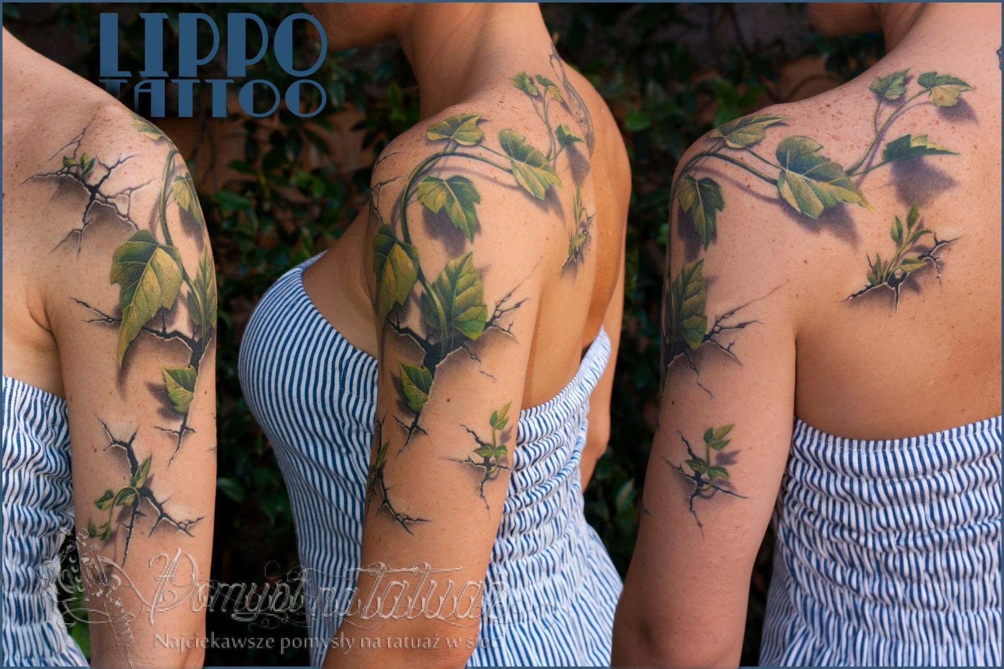580eb29ae3ee52 Bluszcz 3D- genialny tatuaż realistyczny - Pomysł na tatuaż | Tattoo ...