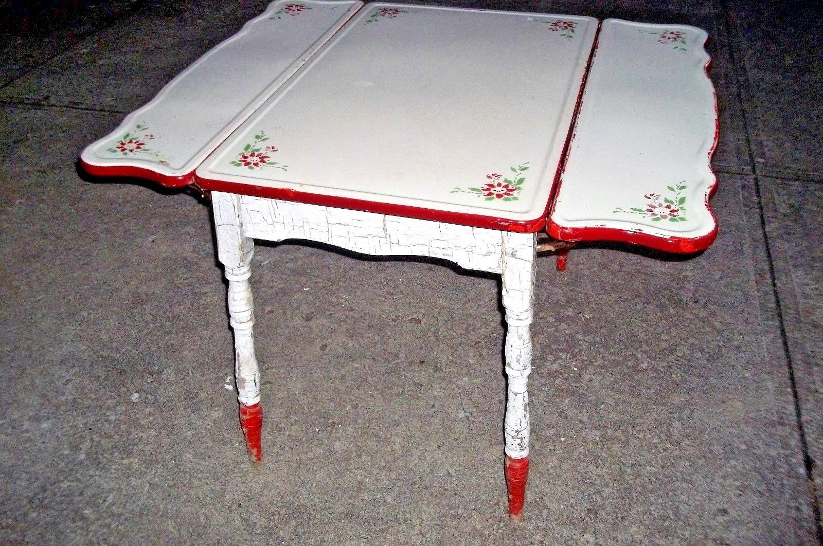Vintage White Red Enamel Flower Top Table Porcelain Pull Out ...