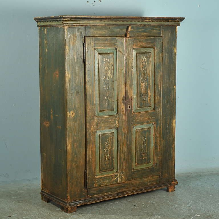 Antique Original Painted Green Two Door Armoire, Lithuania, circa 1860-90 image 2