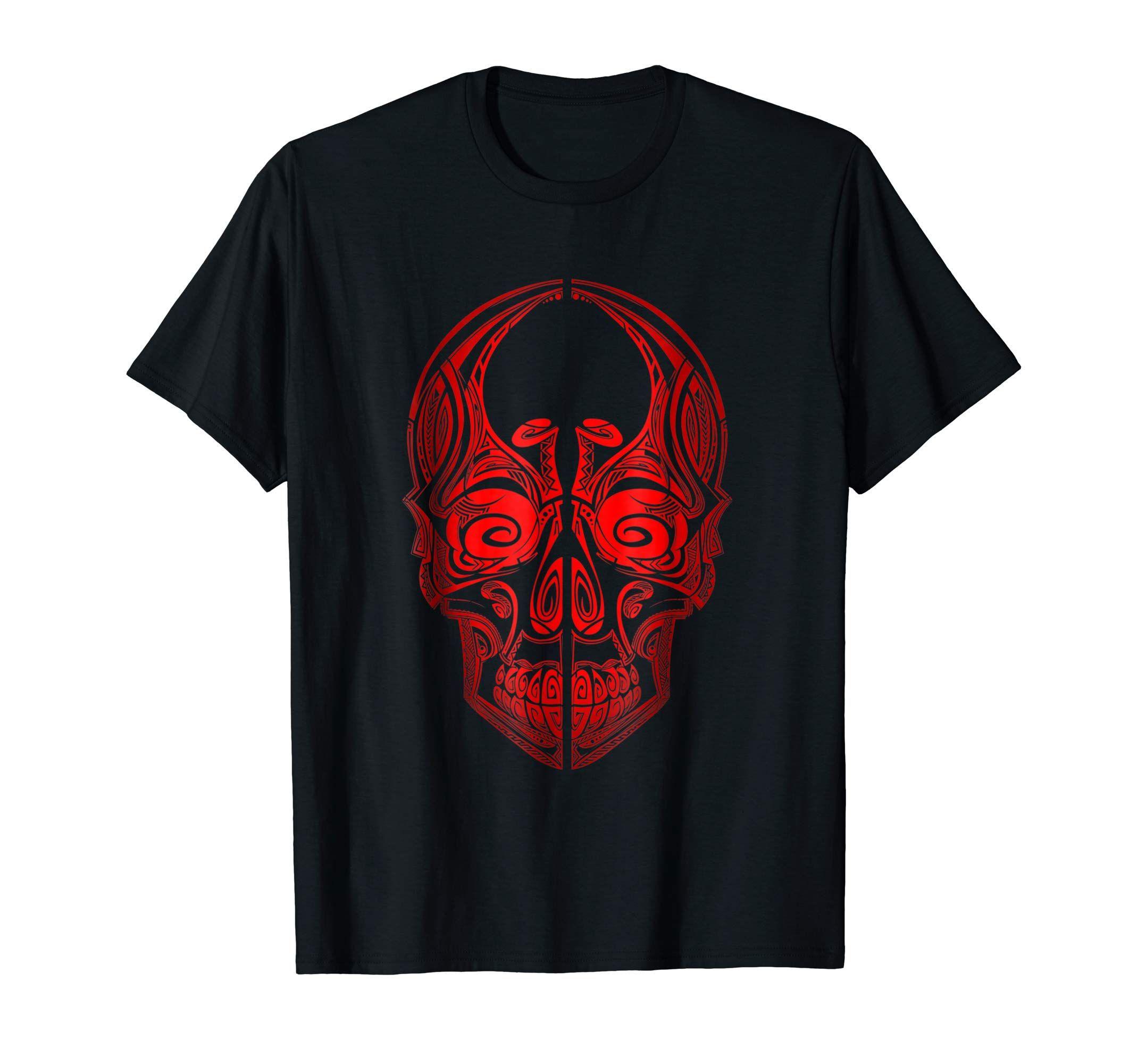Amazon Com Skull T Shirt Maori Tattoo Design Cool Skull Tattoo Shirt Clothing Tattoo Shirts Vintage Tshirts Shirts