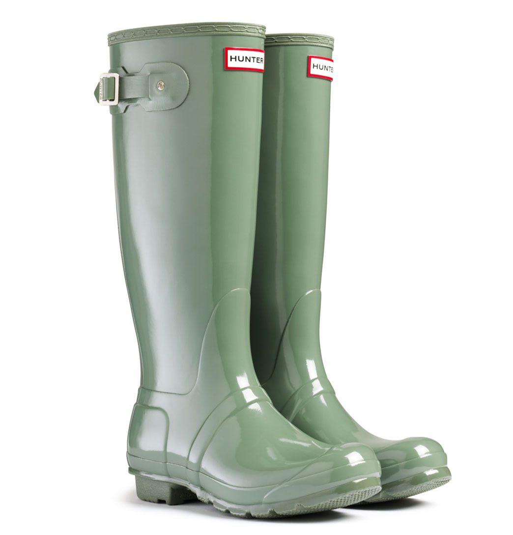 Womens Original Gloss Moss Green Synthetic Rain Boots 6 UK