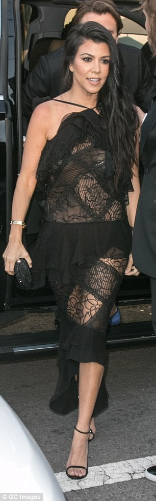 Brunette black lace dress