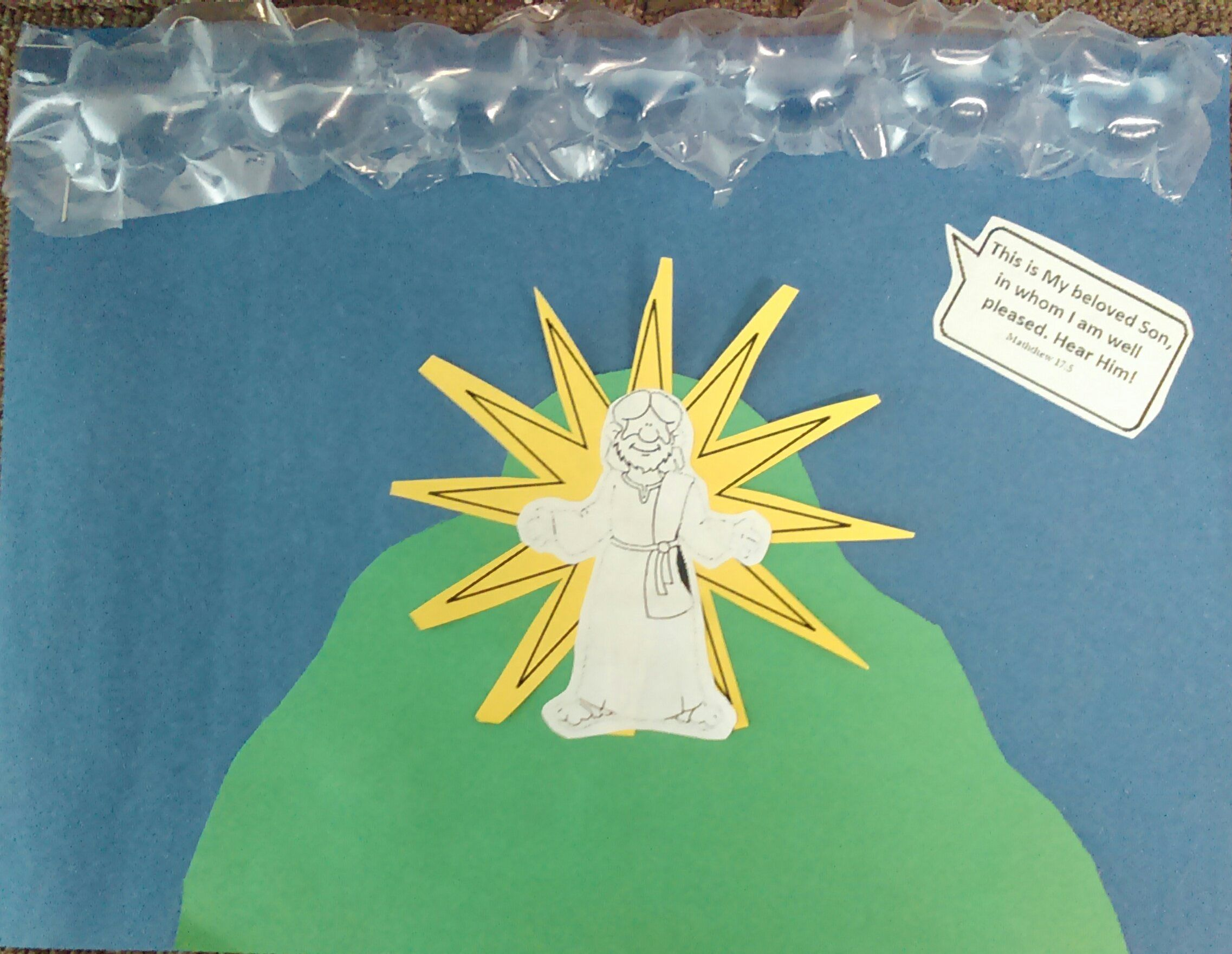 Jesus Transfigured Craft - Bubble Wrap as the Cloud! Matthew 17:5 ...