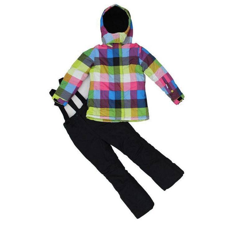 d553b9b4a7b0 Skiing jacket+pant snow suit fur lining -20 DEGREE ski suit kids ...