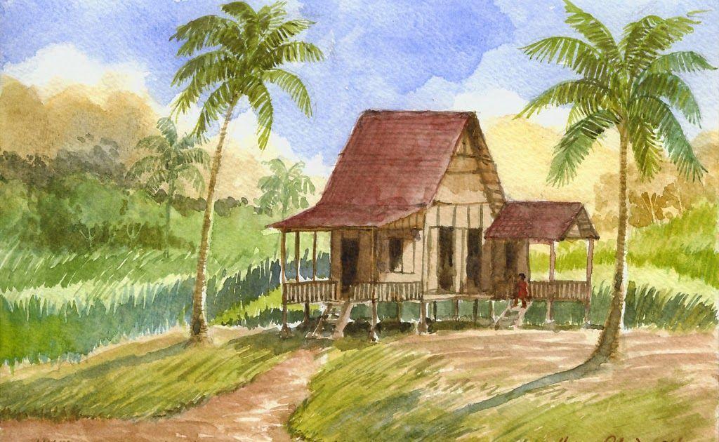 Lukisan Pemandangan Kampung di 2020 | Lukisan rumah ...