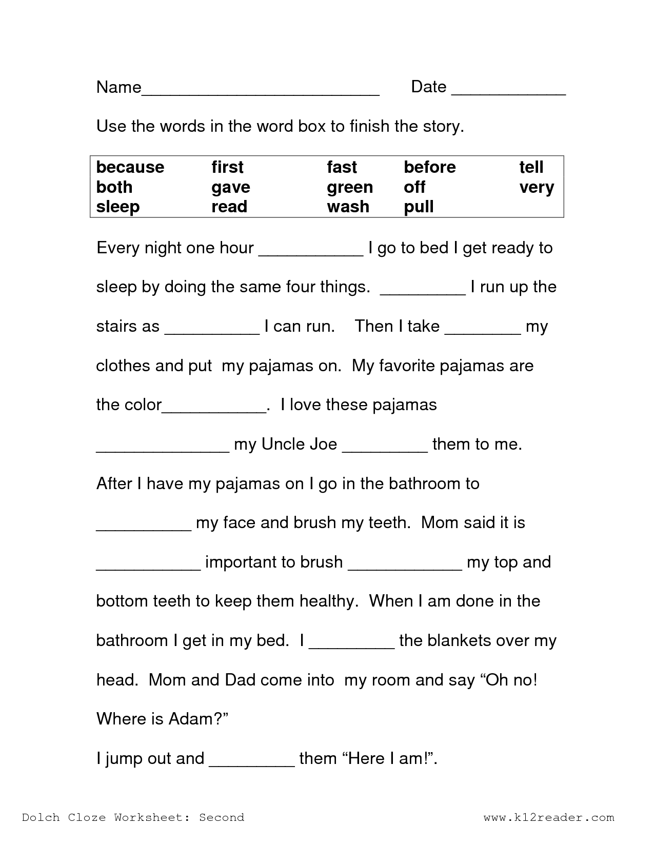 Image result for free cloze reading passages 2nd grade   2nd grade reading  worksheets [ 1650 x 1275 Pixel ]