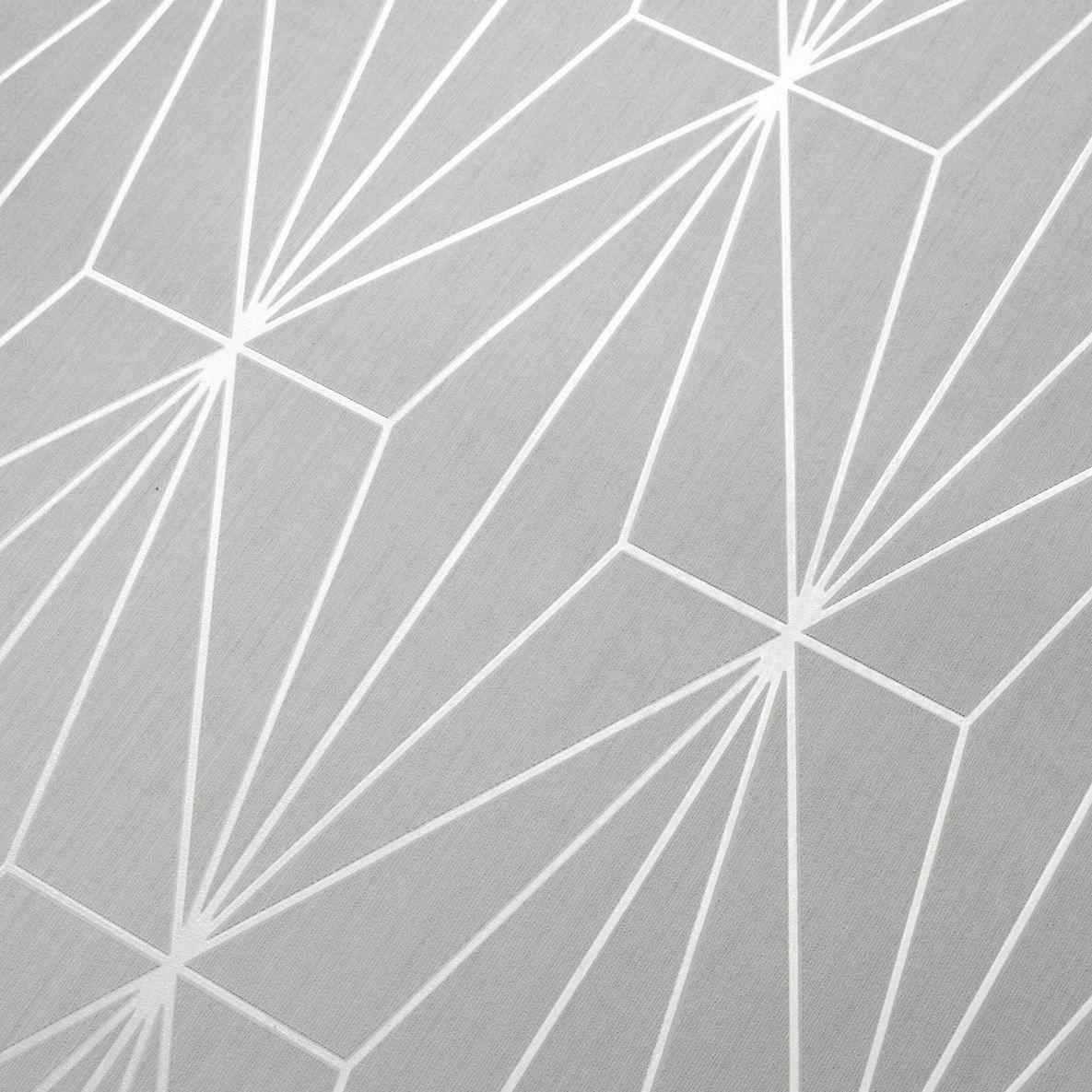 WM70301001 Geometric lines wallpaper Gray Silver Metallic