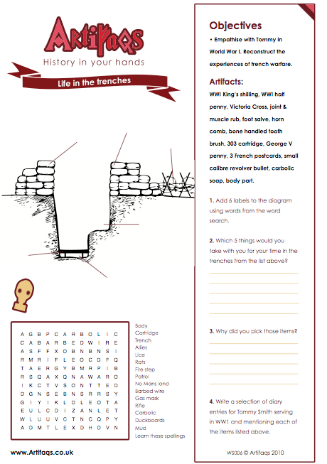 Free Worksheet! Life in the trenches Objectives Empathise with Tommy ...
