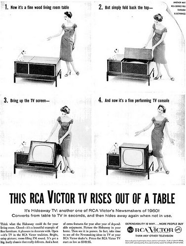 #ThrowbackThursday: Like #magic, an RCA #TV rises out of a table! #TBT #retro