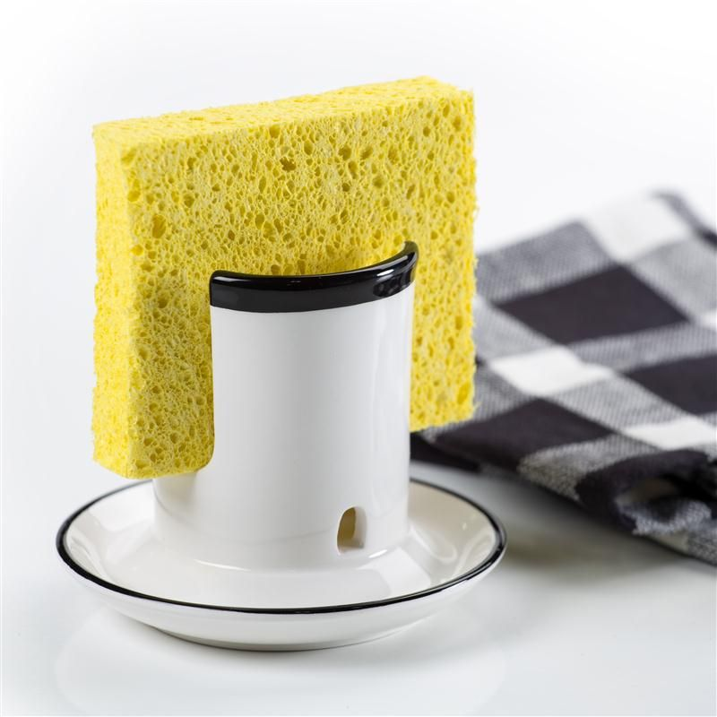 Say goodbye to soggy sponges. This smart sponge holder from Lehman's allows the sponge to drip dry while keeping your counters clean.
