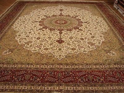 High End Silk 12x15 Ivory Tabriz Rug Handmade Traditional Carpet 144 X 180 In Thank You For Showing Interest In Best Rugs Rugs Australia Large Rugs For Sale