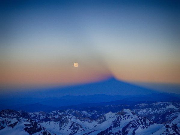 Shadow of Aconcagua and Full Moon Christmas Morning